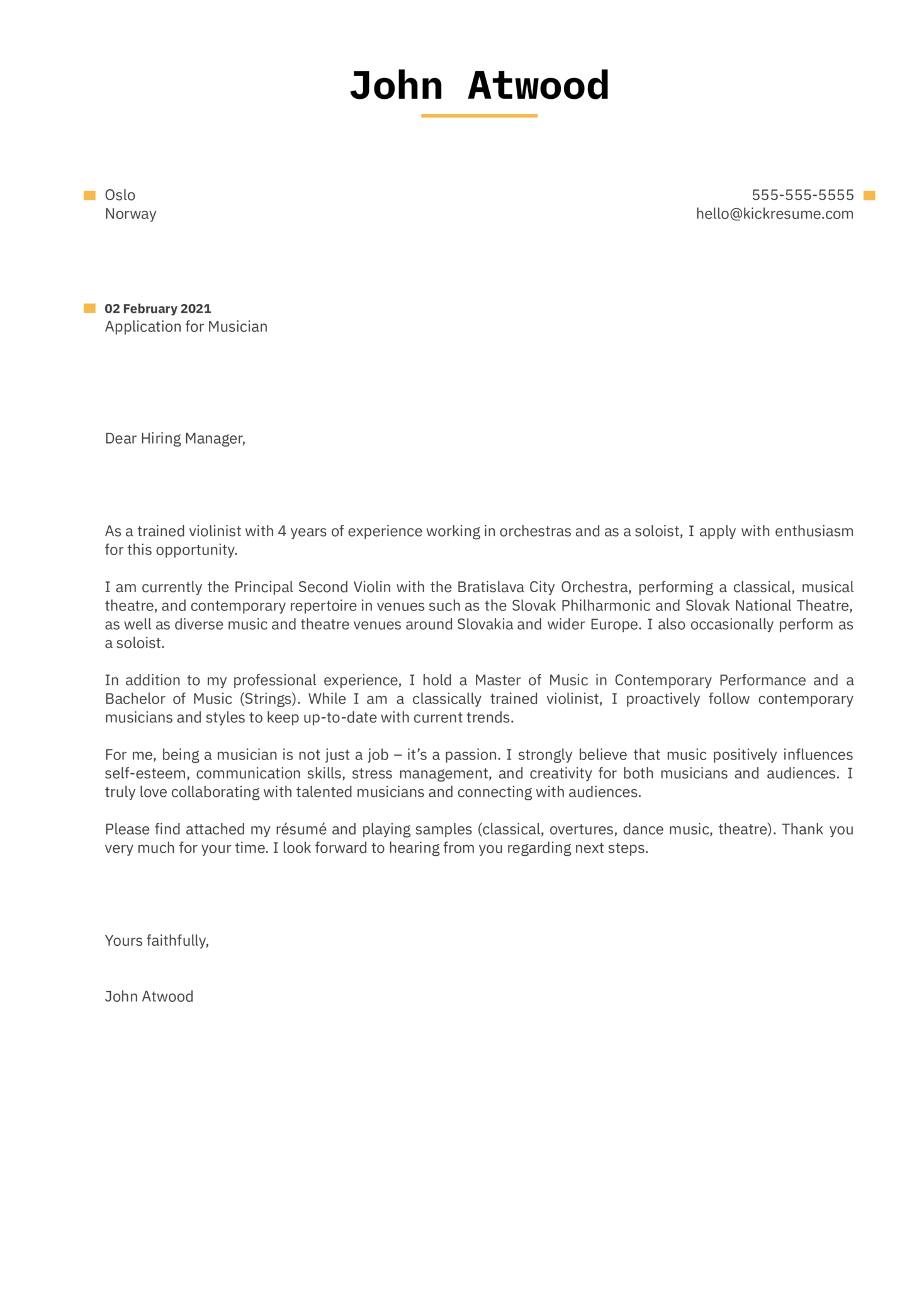 Musician Cover Letter Template