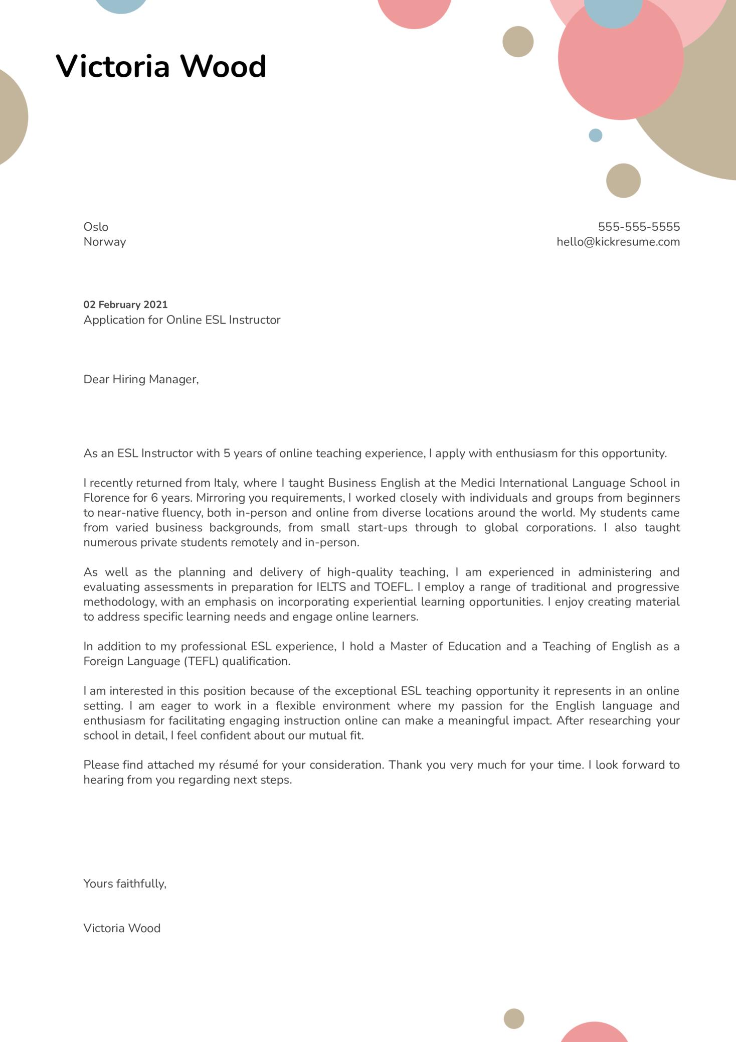 Online ESL Instructor Cover Letter Example