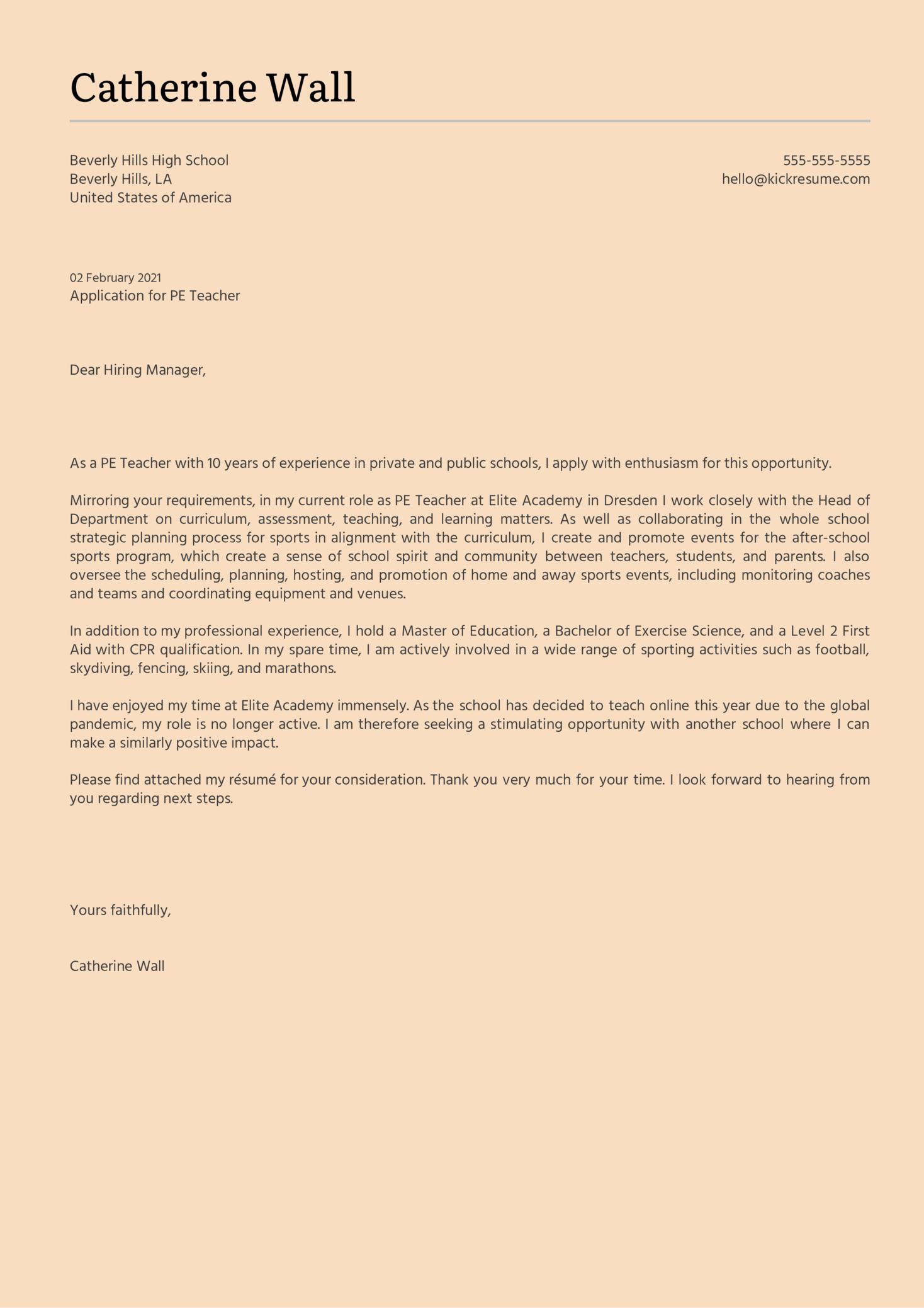 PE Teacher Cover Letter Sample