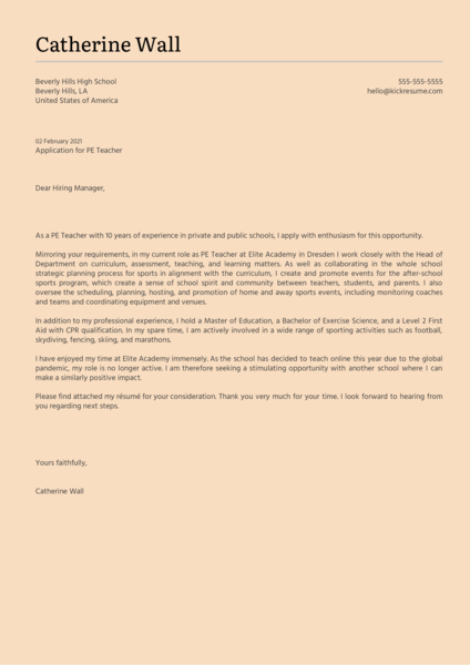 PE Teacher Cover Letter Sample
