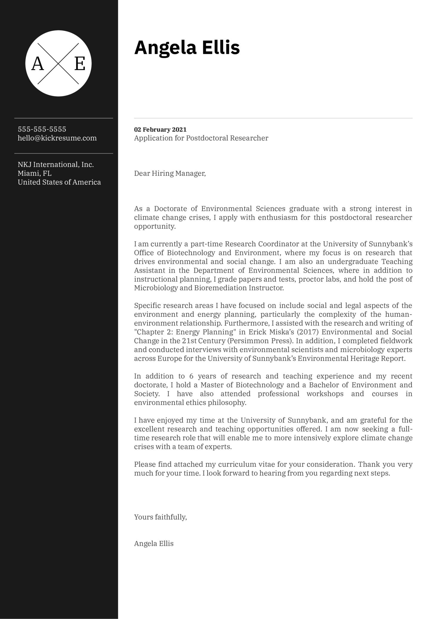 Postdoctoral Researcher Cover Letter Sample