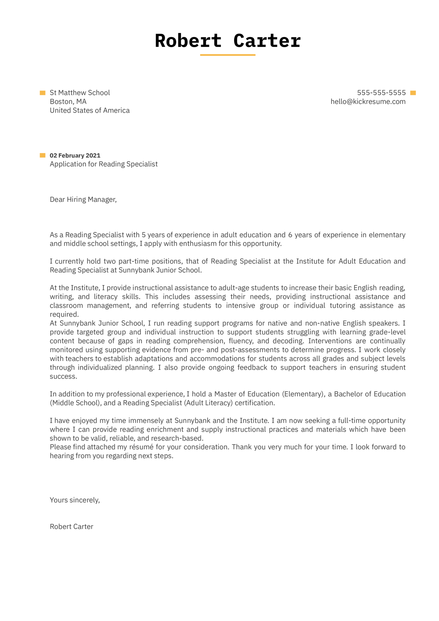 Reading Specialist Cover Letter Template