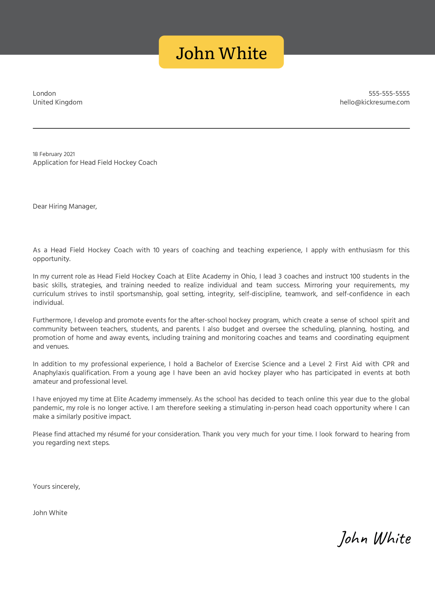 Head Field Hockey Coach Cover Letter Example