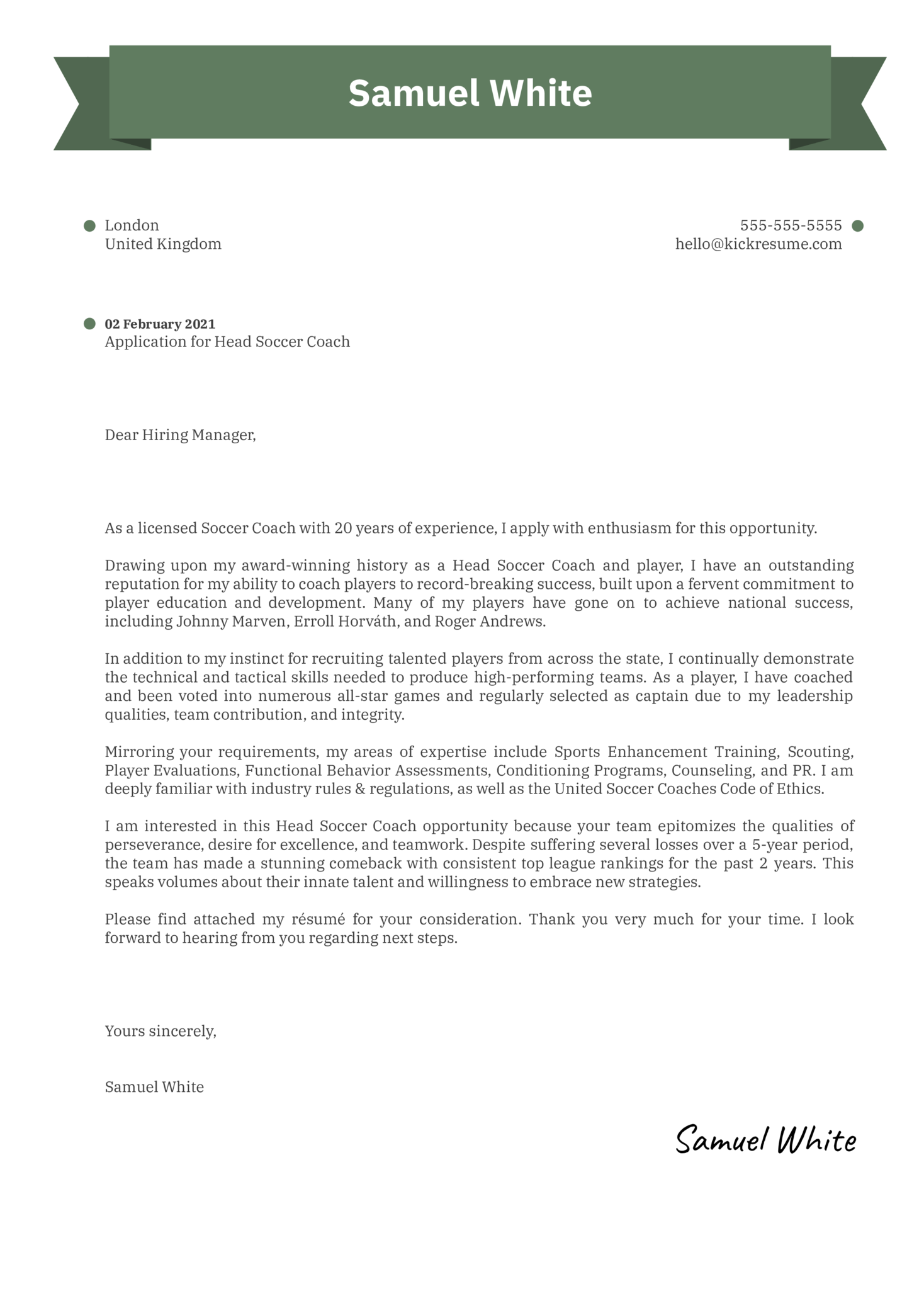Head Soccer Coach Cover Letter Sample