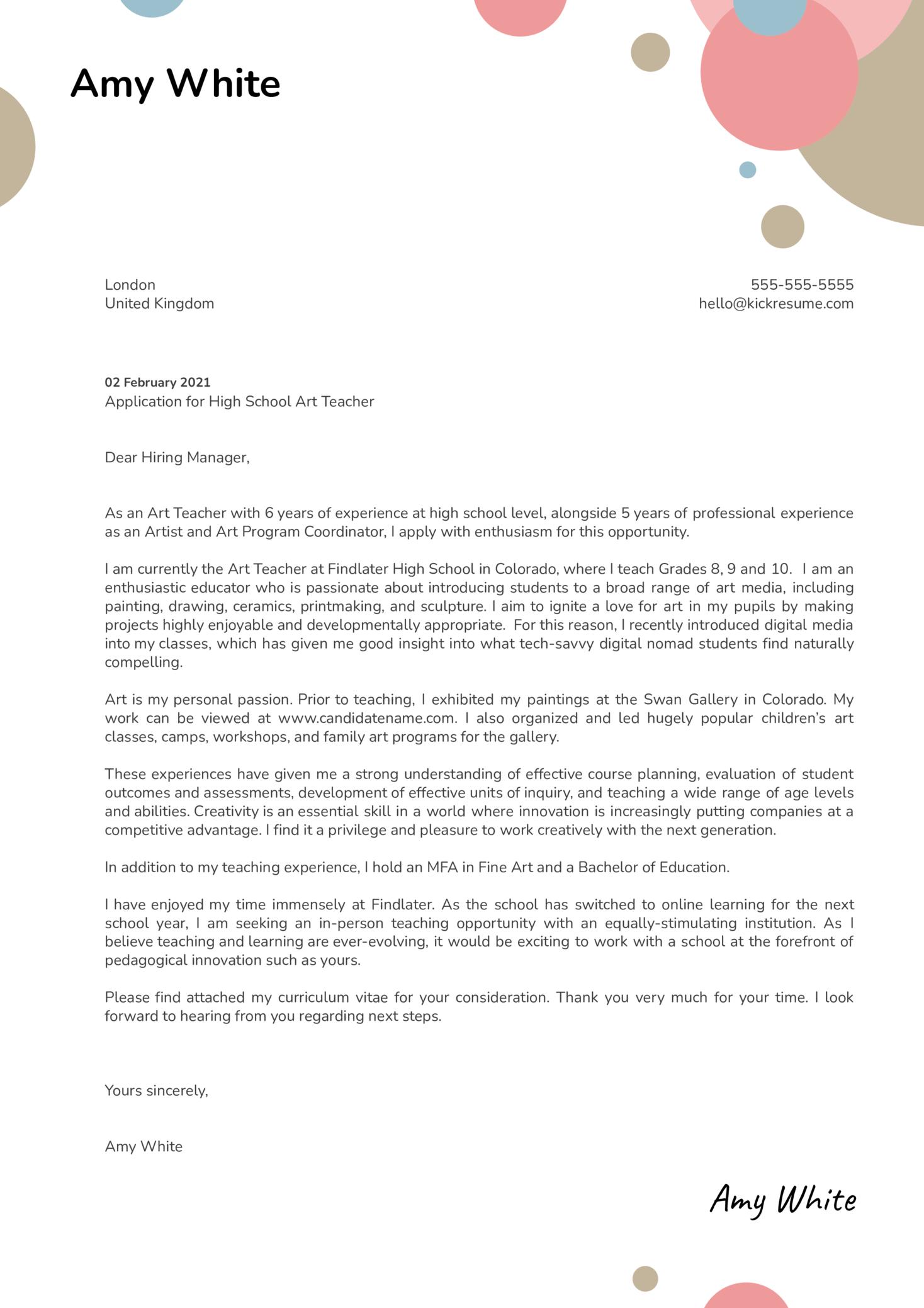 High School Art Teacher Cover Letter Template