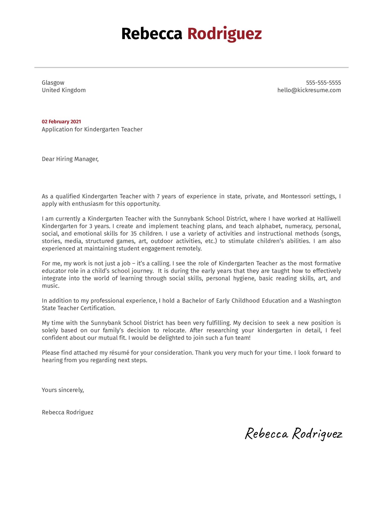 Kindergarten Teacher Cover Letter Sample Kickresume