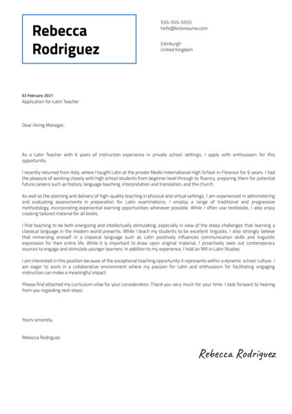 Latin Teacher Cover Letter Sample