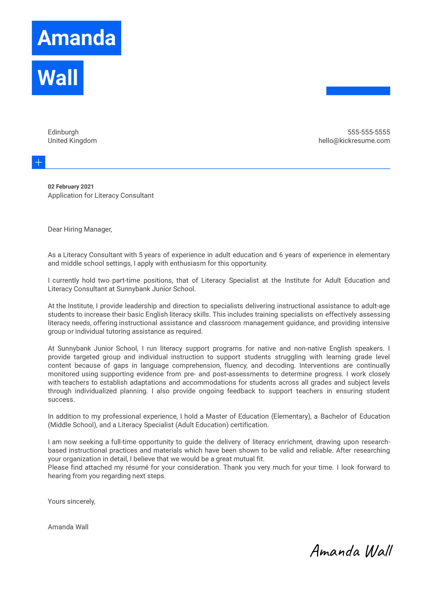 Literacy Consultant Cover Letter Example