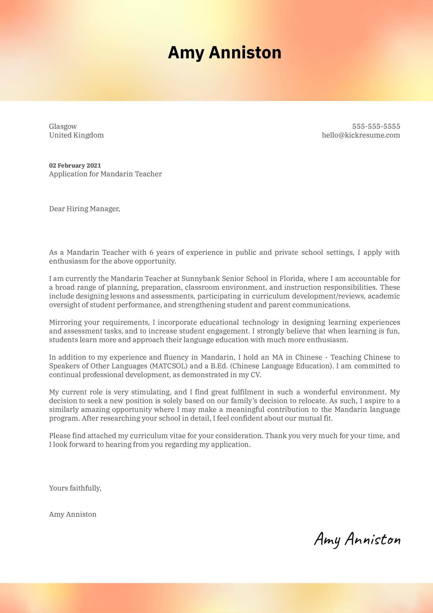 Mandarin Teacher Cover Letter Template