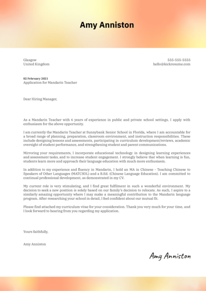 Mandarin Teacher Cover Letter Template