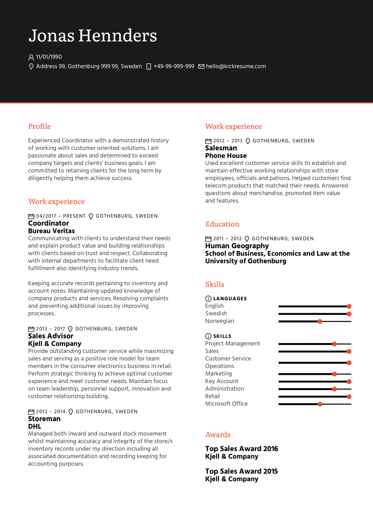 resume examples by real people  maersk business partner cv example