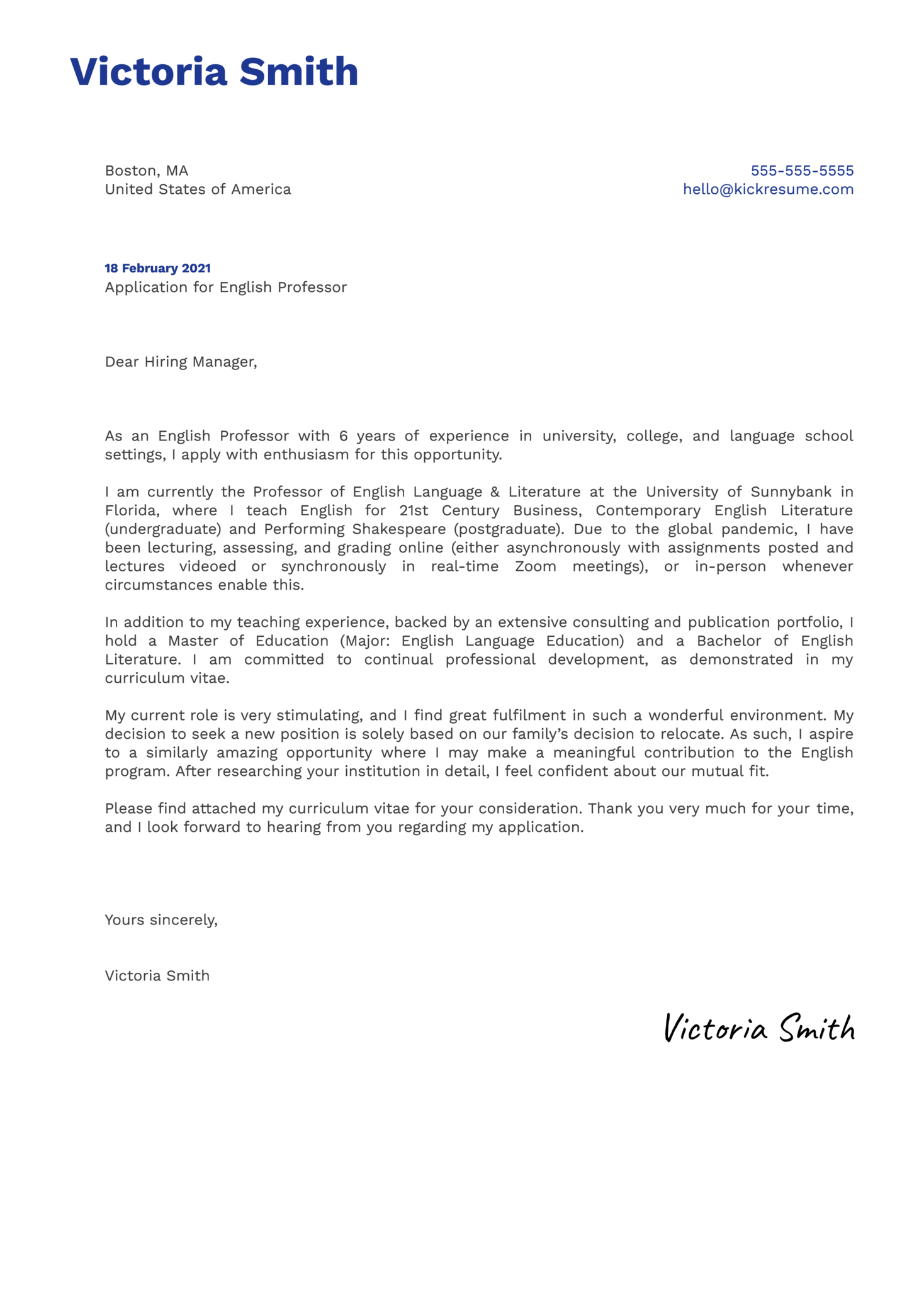 English Professor Cover Letter Example