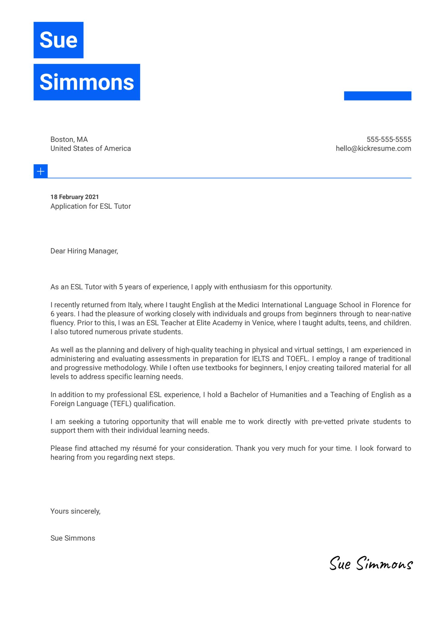 ESL Tutor Cover Letter Template