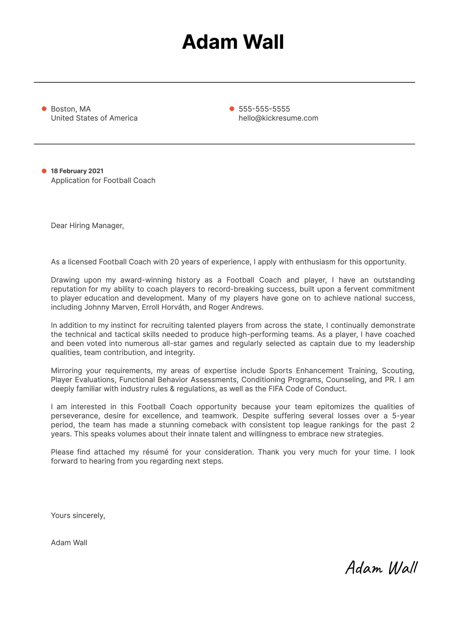 Football Coach Cover Letter Sample Kickresume