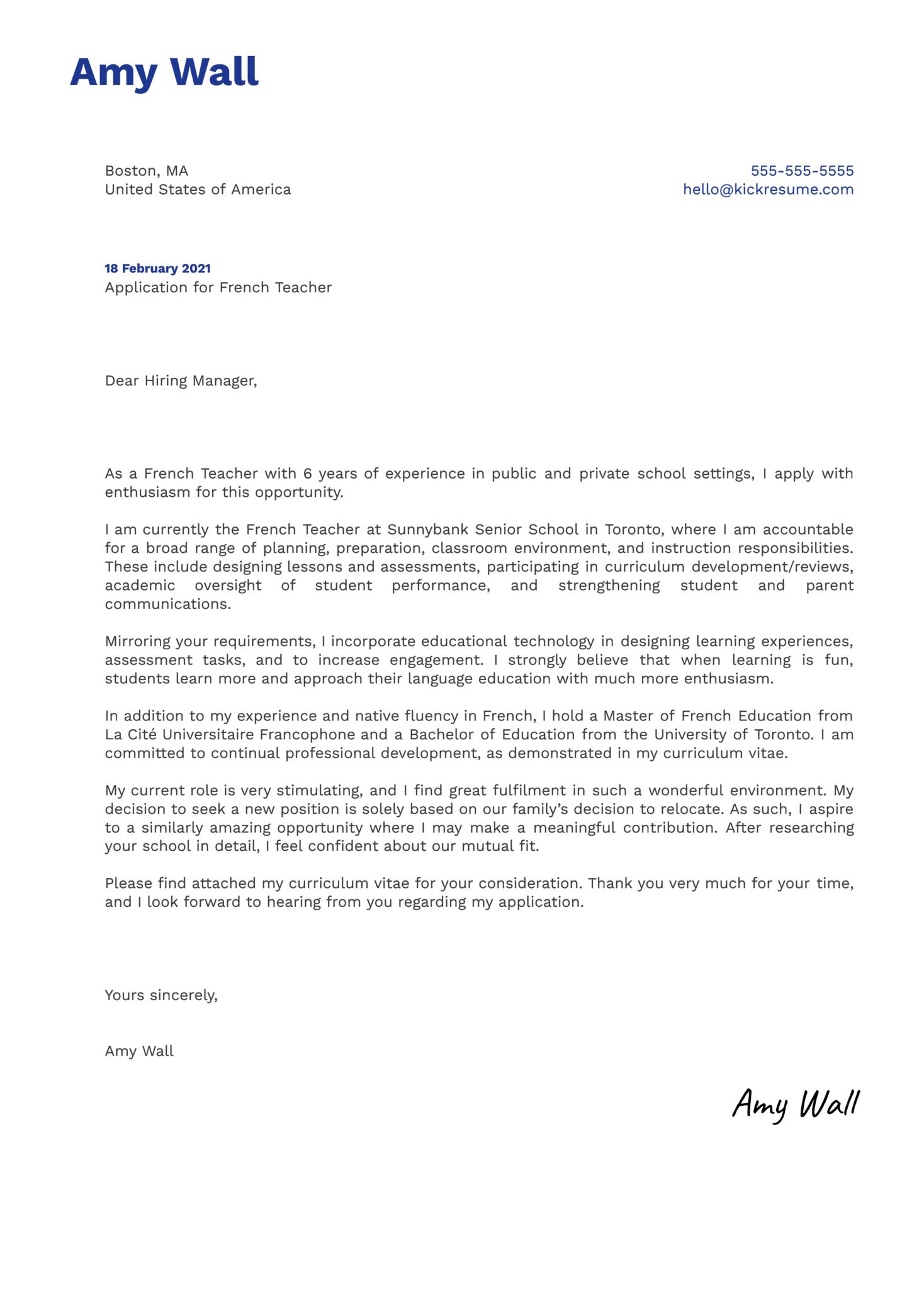French Teacher Cover Letter Template Kickresume