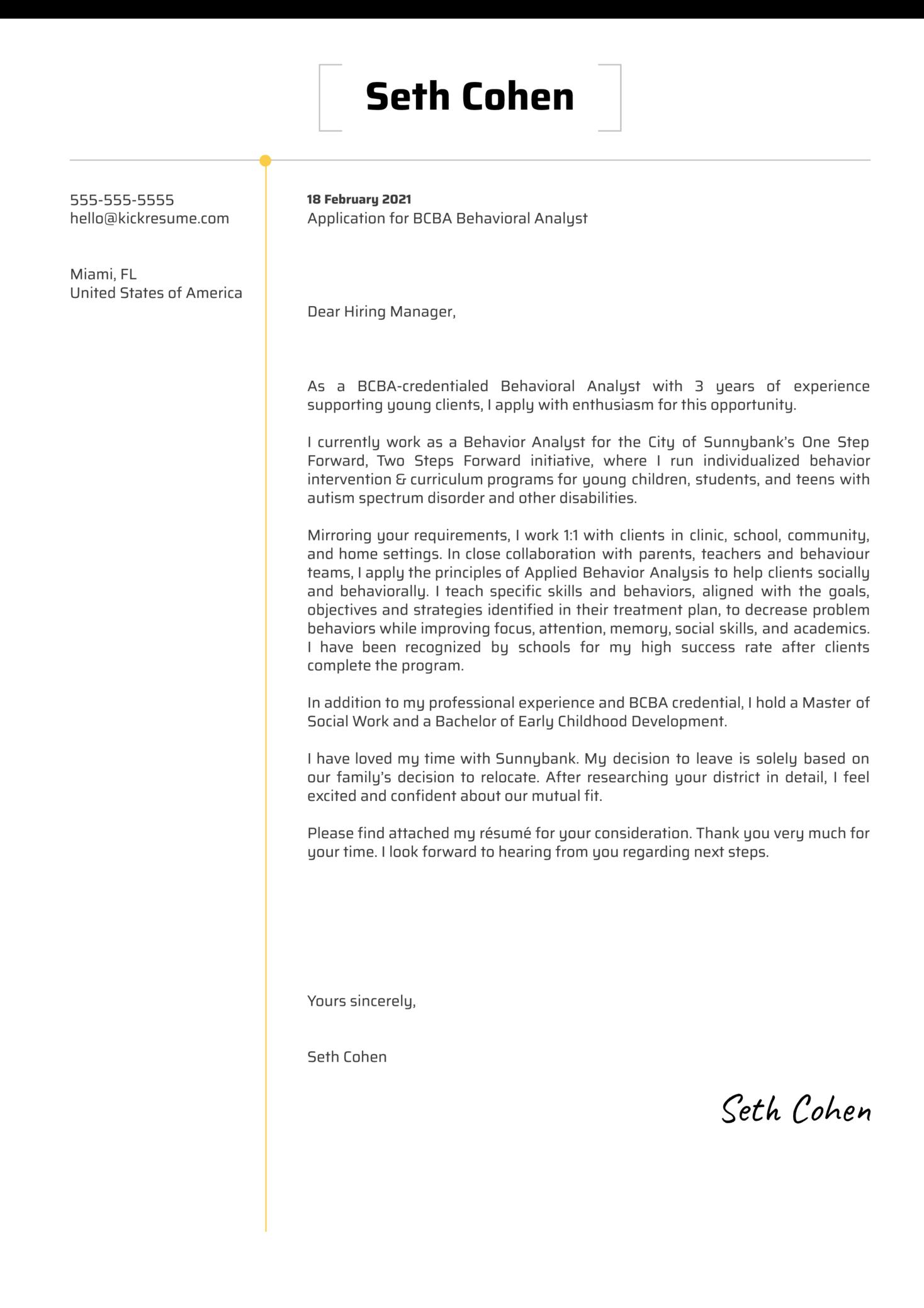 BCBA Behavioral Analyst Cover Letter Template