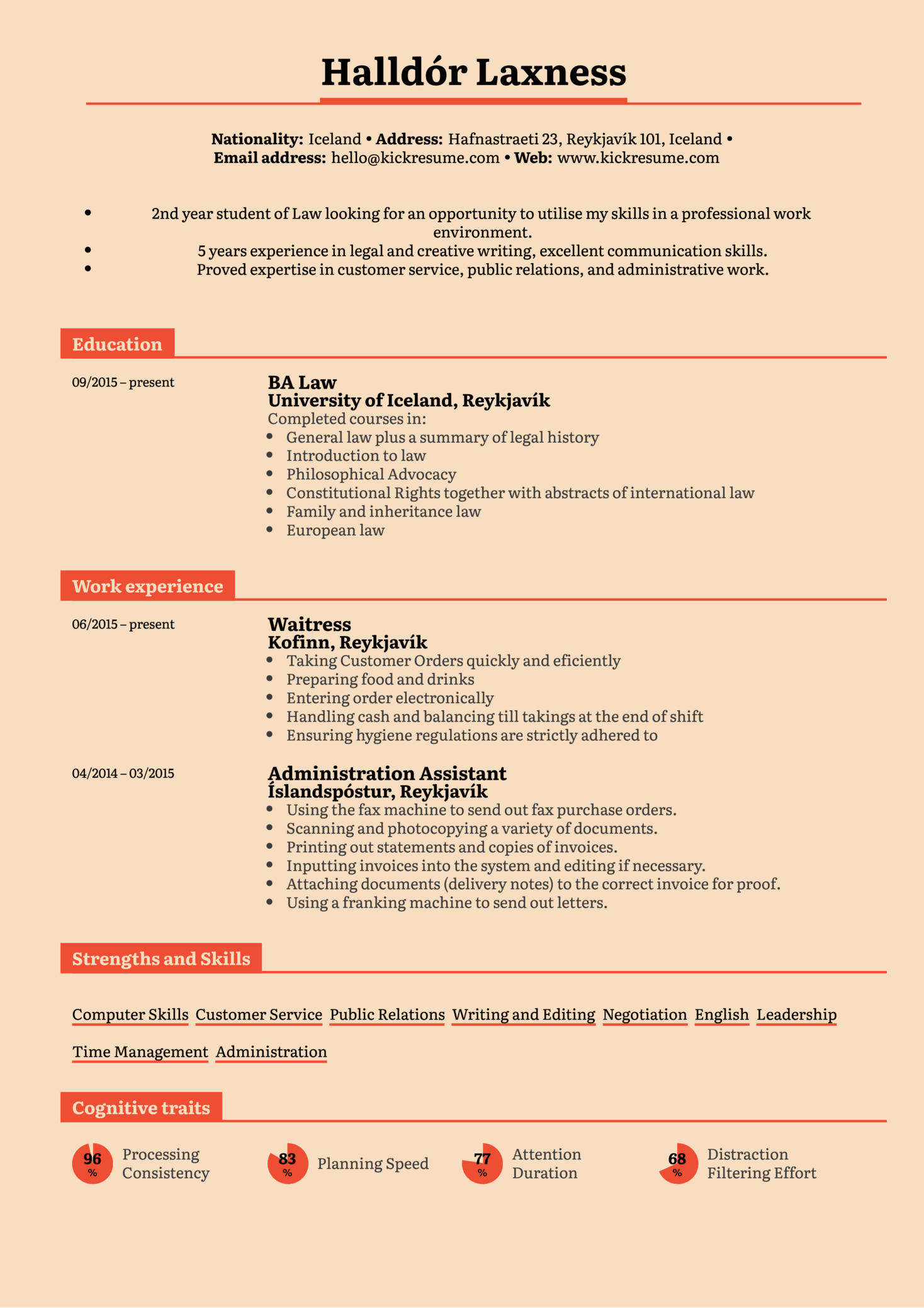 Student Resume Law Internship Kickresume