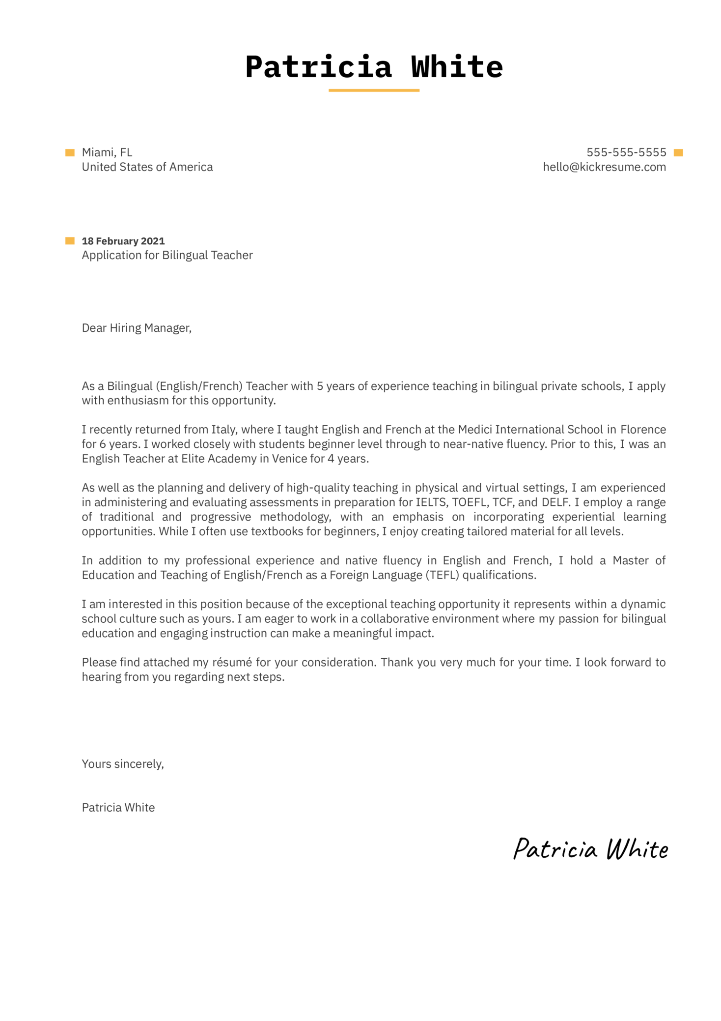 Bilingual Teacher Cover Letter Sample
