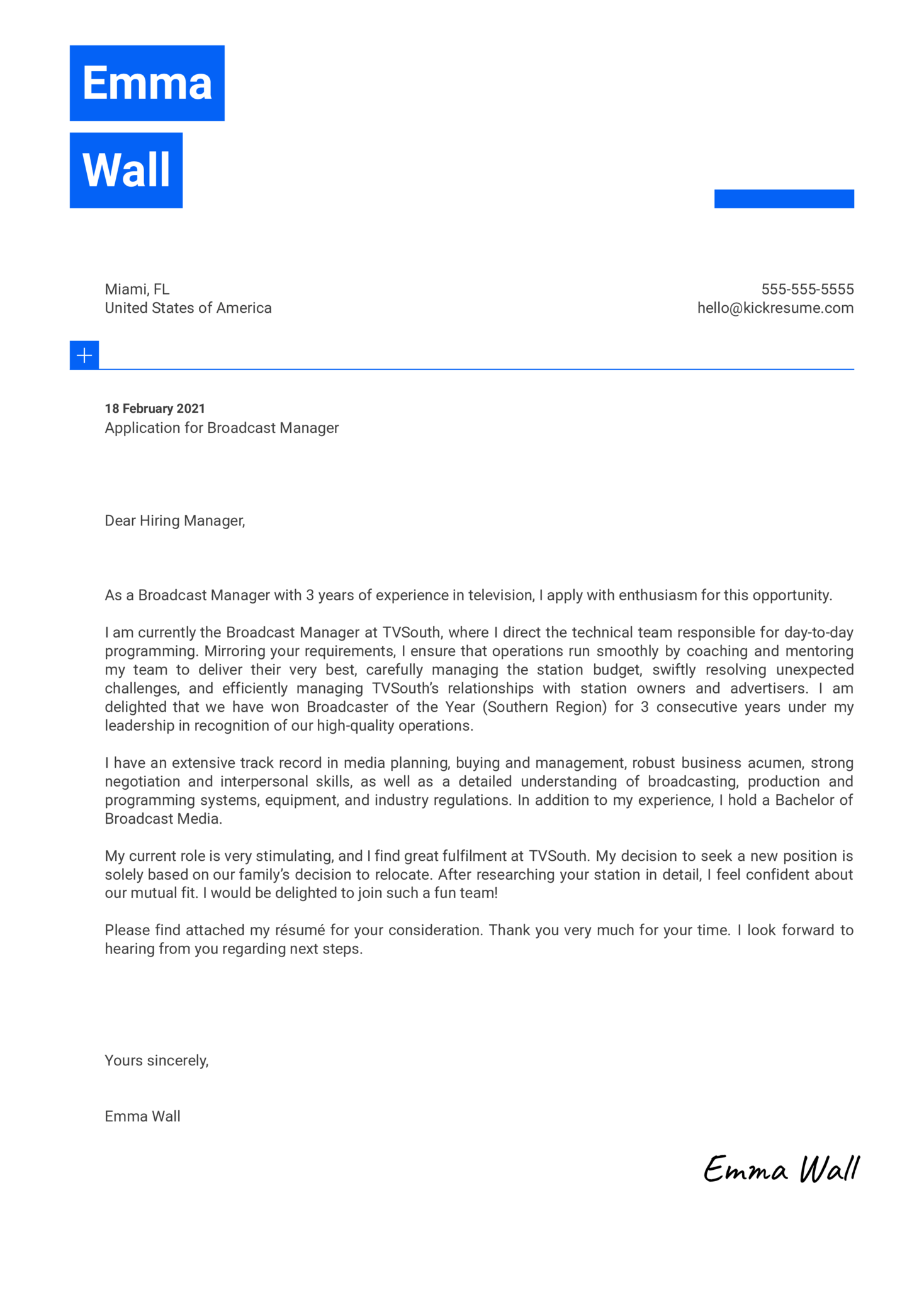 Broadcast Manager Cover Letter Sample