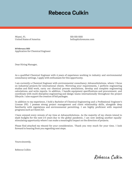 Chemical Engineer Cover Letter Template