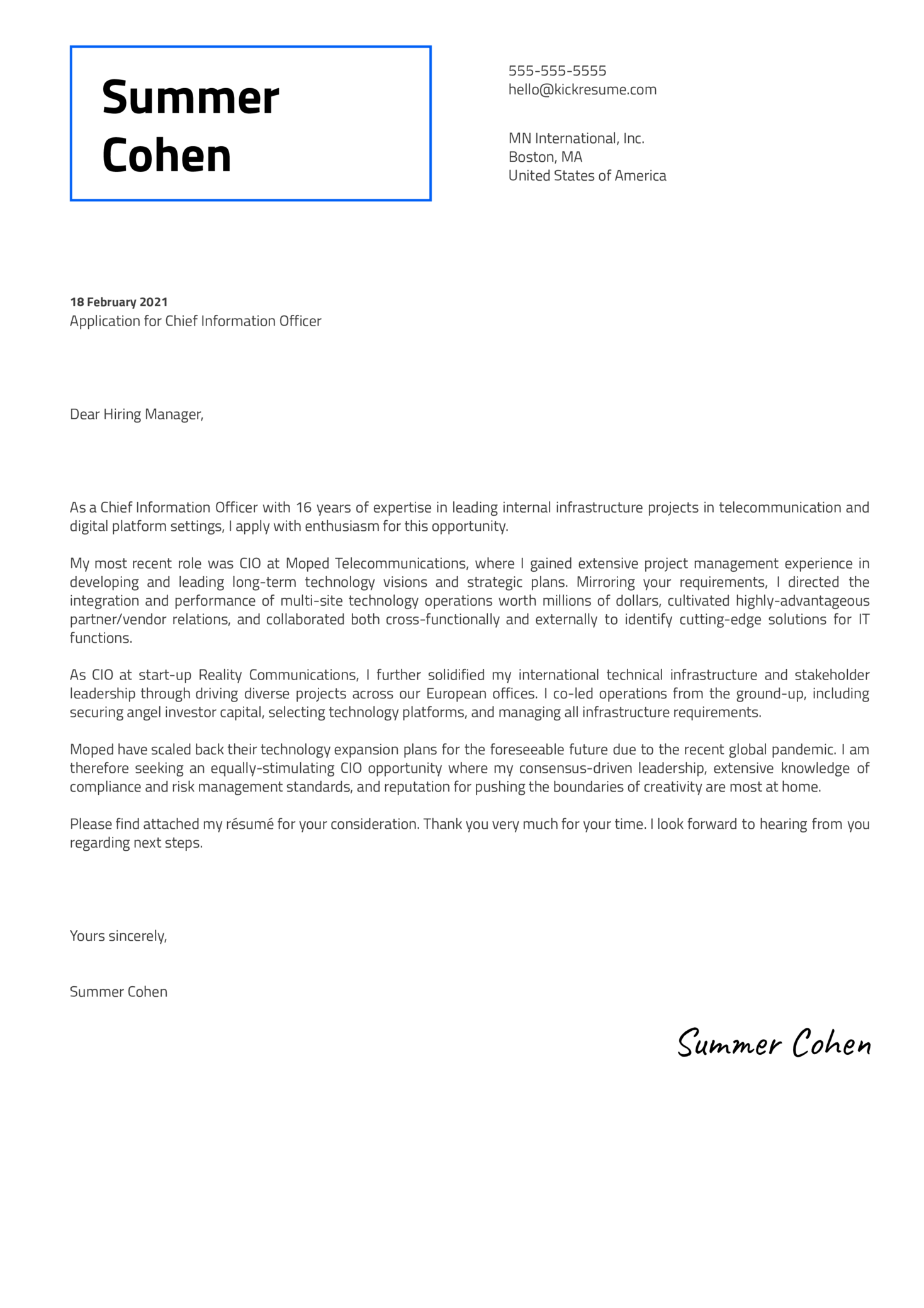 Chief Information Officer Cover Letter Template