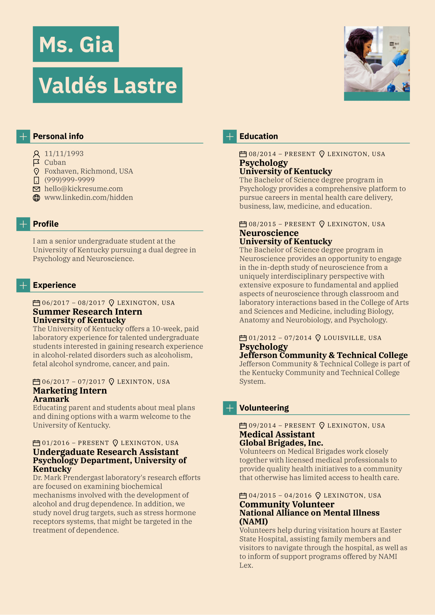 resume examples by real people  summer research intern at