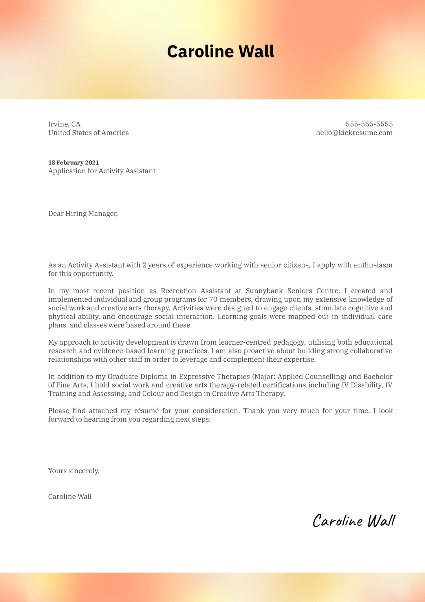 Activity Assistant Cover Letter Sample