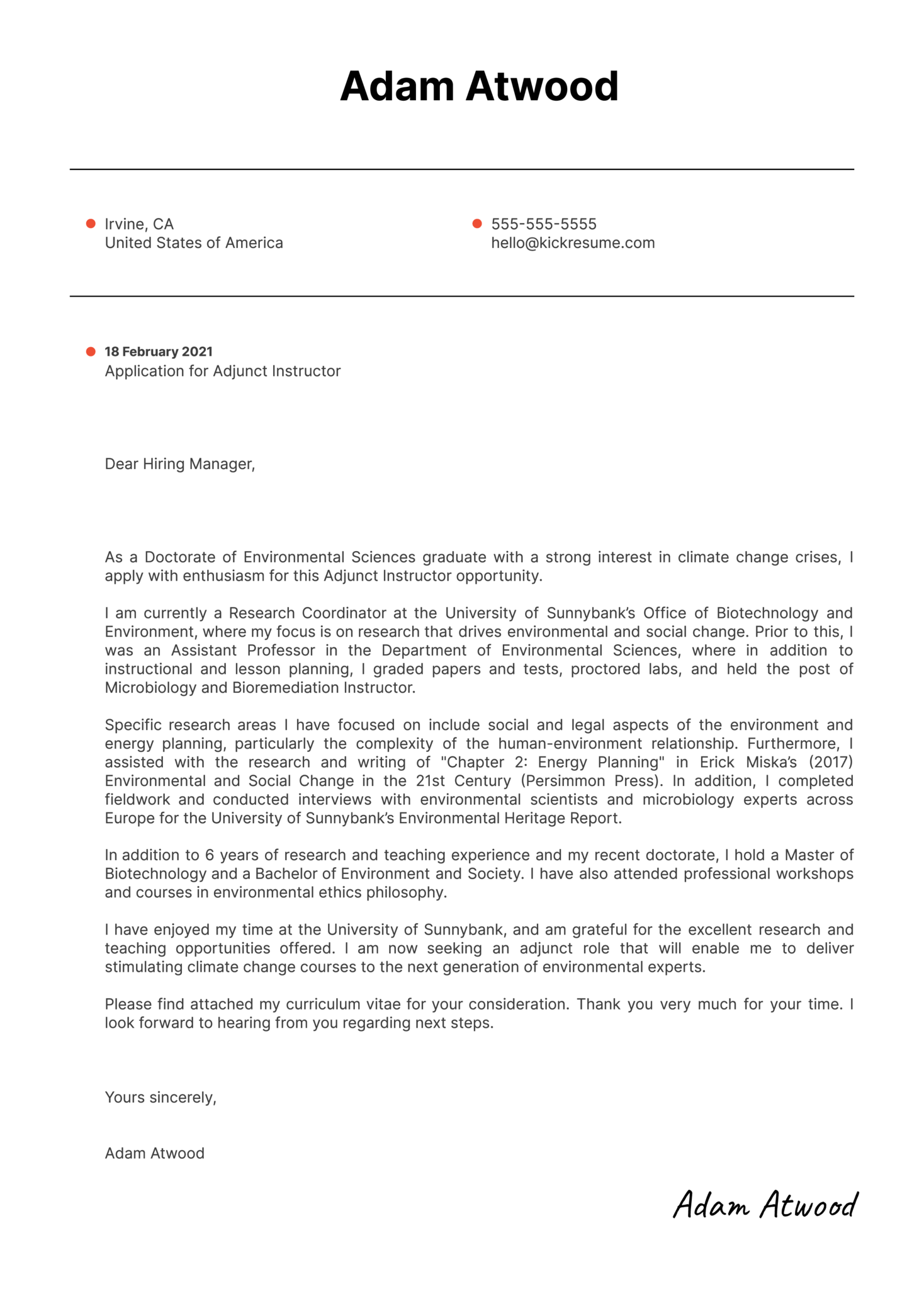 Adjunct Instructor Cover Letter Template