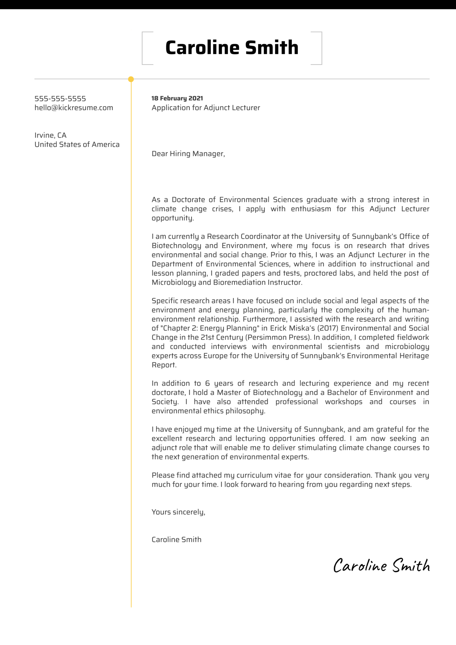 Adjunct Lecturer Cover Letter Example