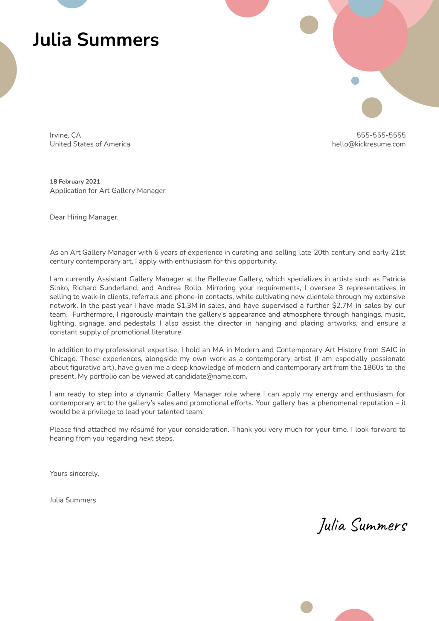 Art Gallery Manager Cover Letter Sample Kickresume