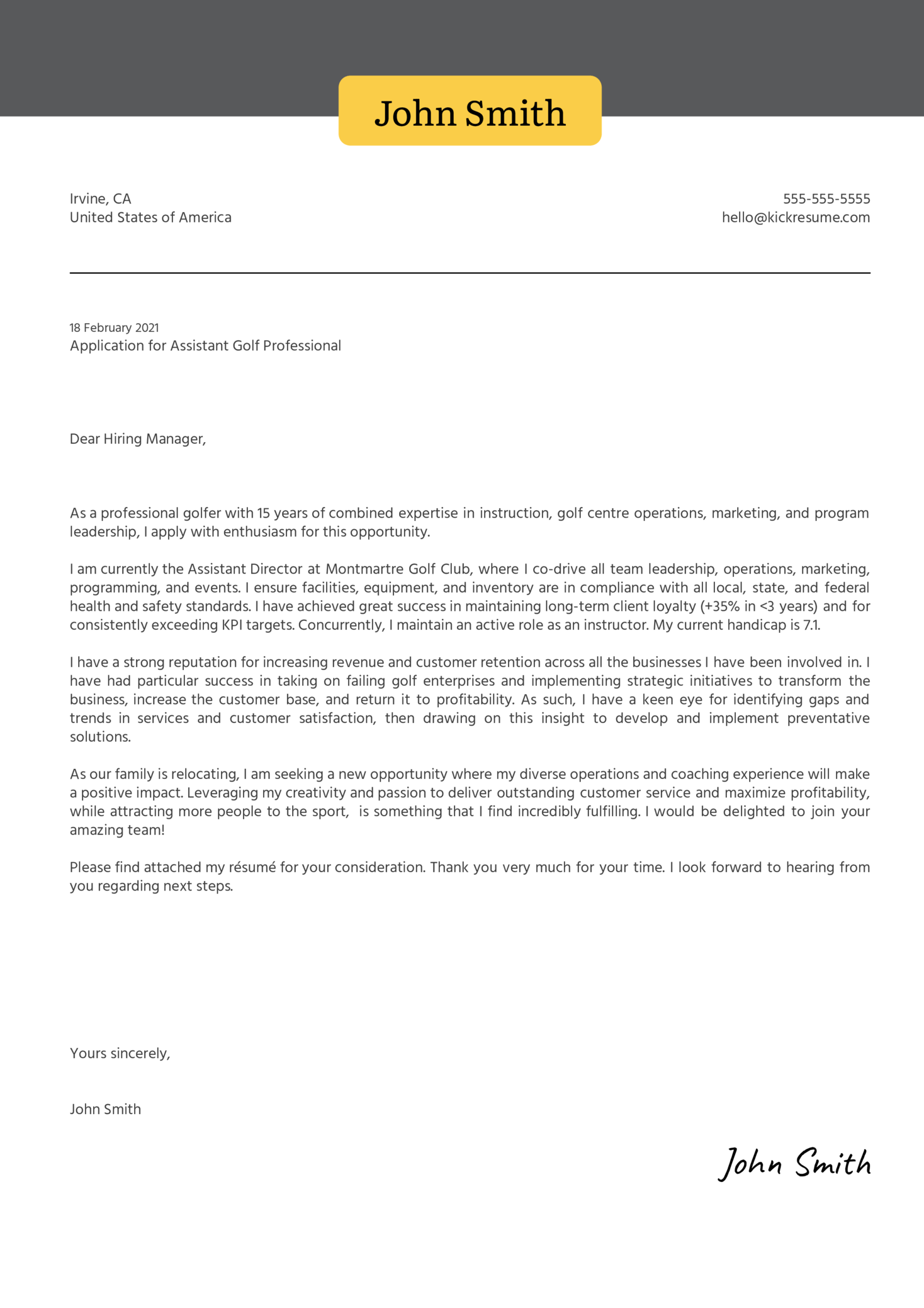 Assistant Golf Professional Cover Letter Sample