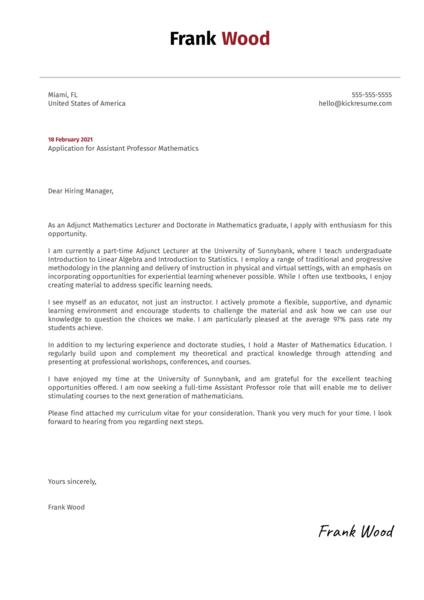 Assistant Professor Mathematics Cover Letter Example