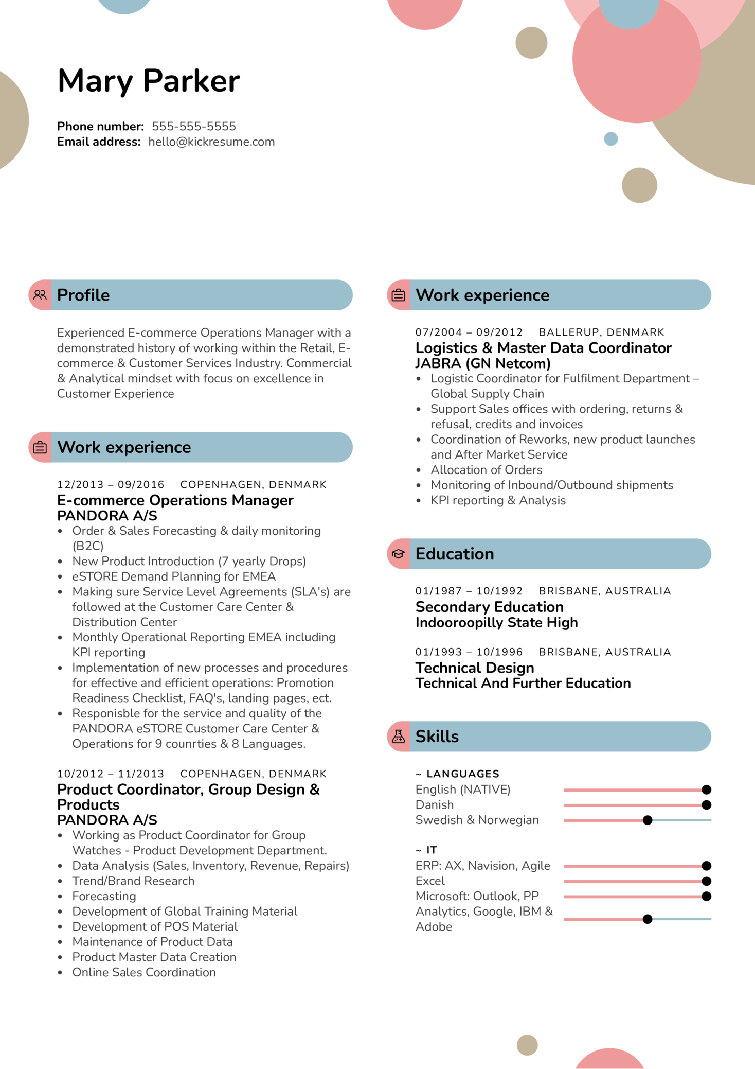 IKEA E-commerce Operations Manager Resume Sample (Part 1)