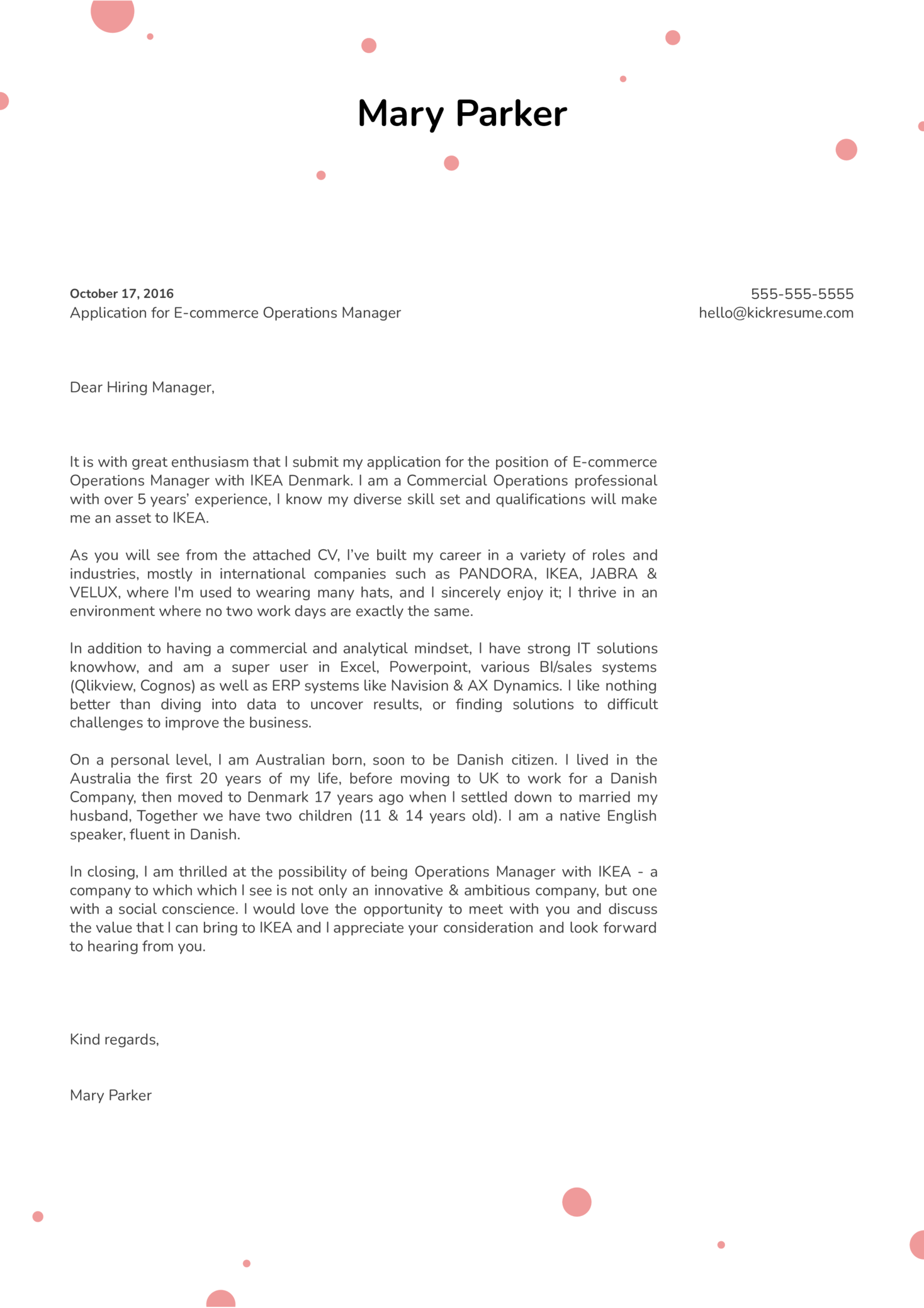 Ikea E Commerce Operations Manager Cover Letter Example Kickresume