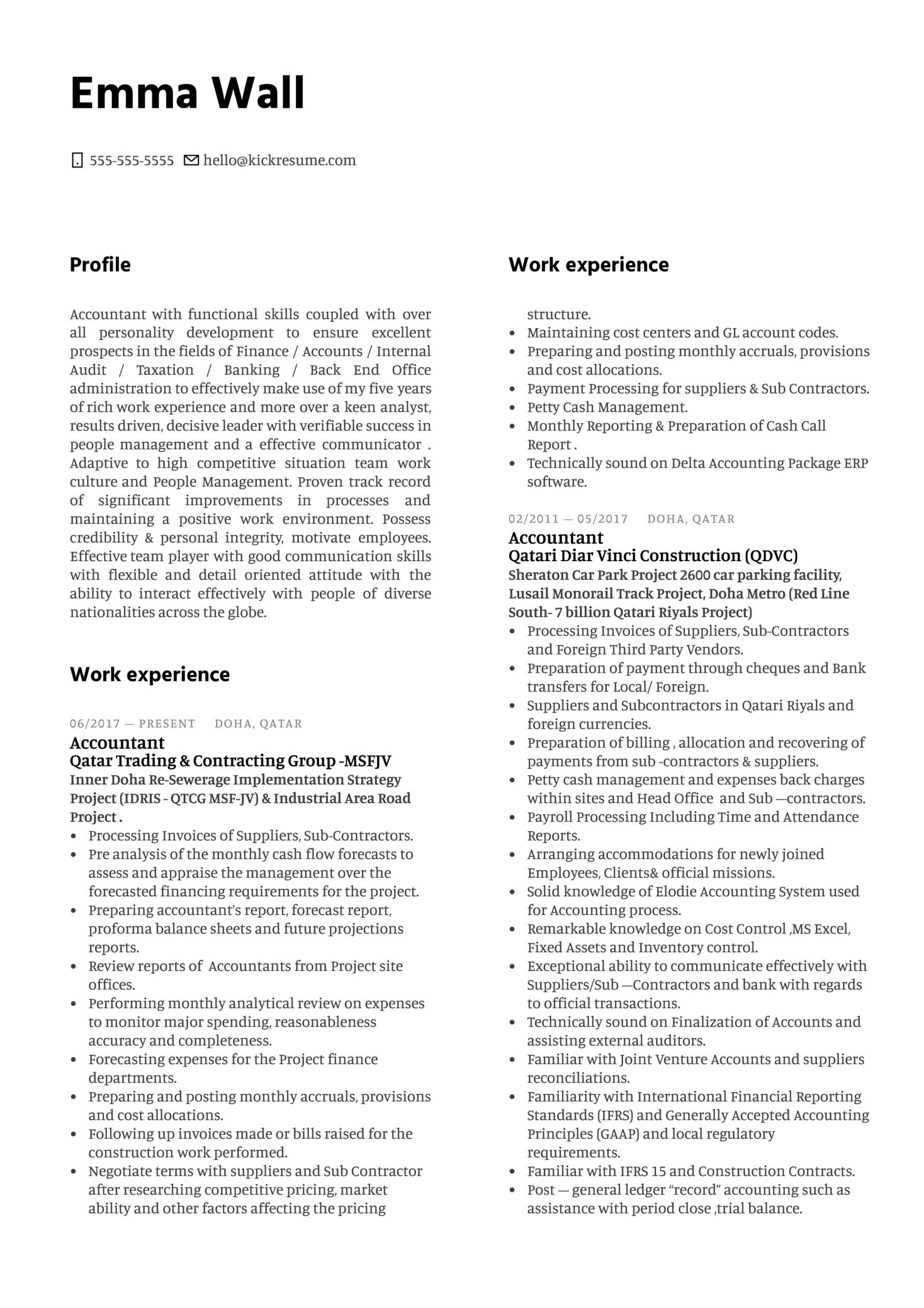 DB Schenker Accountant Resume Example (časť 1)