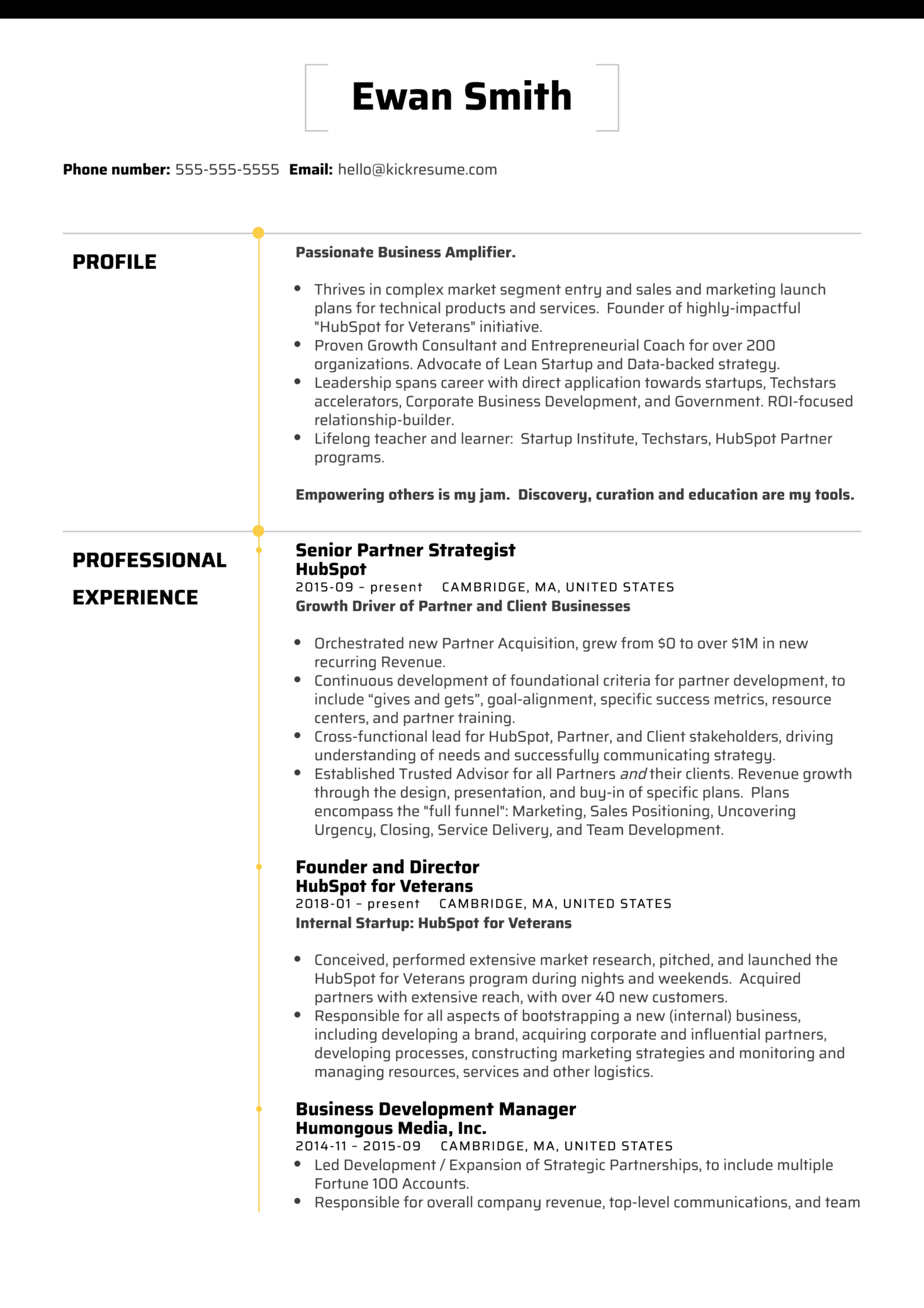 HubSpot Director of Business Development Resume Sample (Part 1)