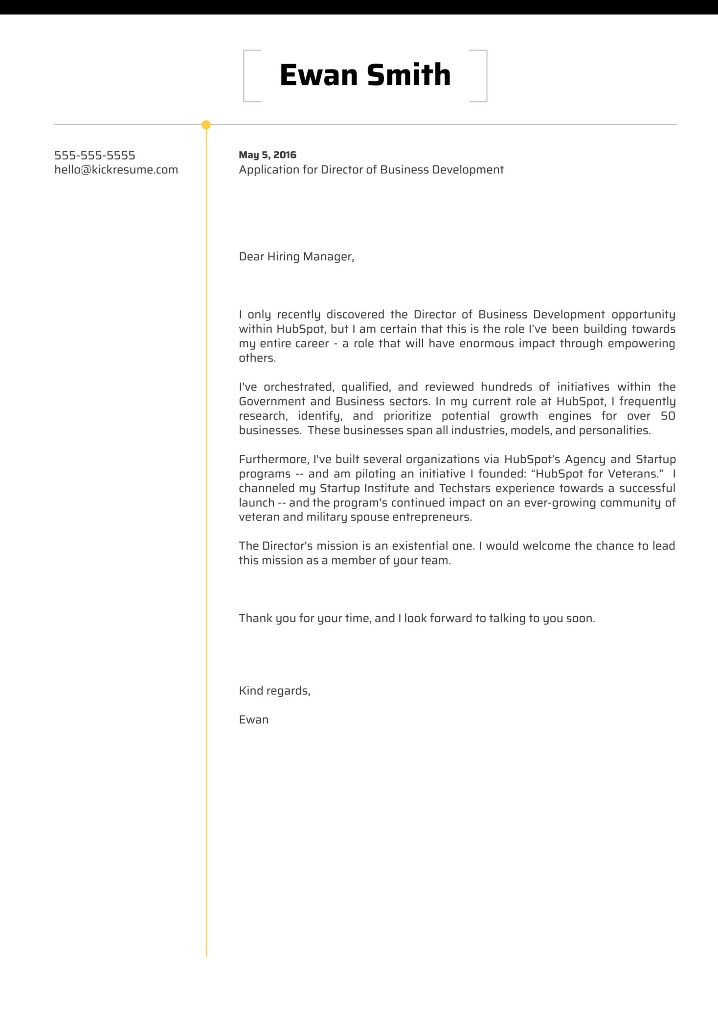 HubSpot Director of Business Development Cover Letter Sample