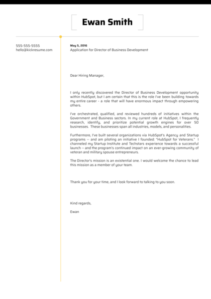 HubSpot Director of Business Development Cover Letter Sample