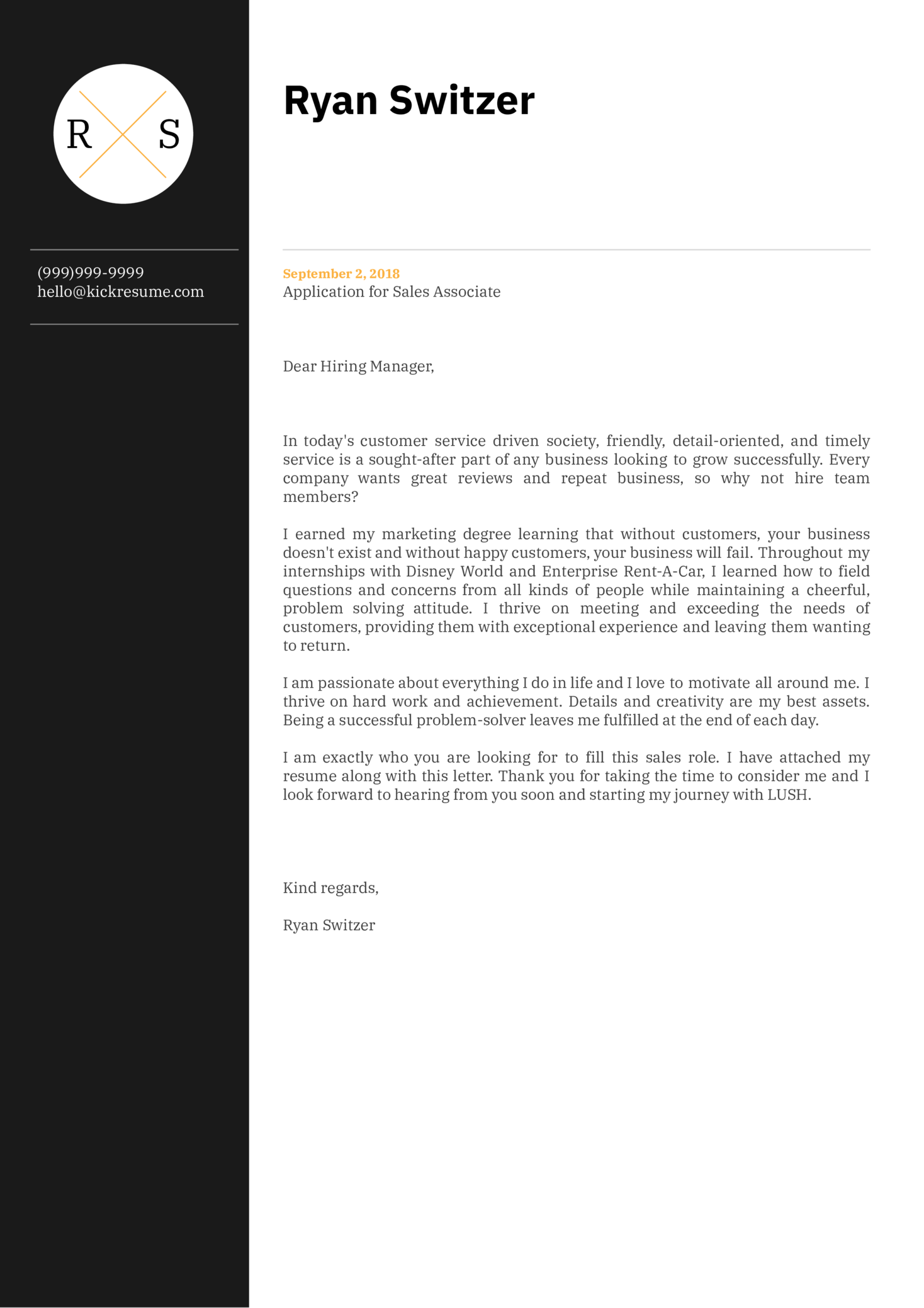 Sales Associate at LUSH Cover Letter Example