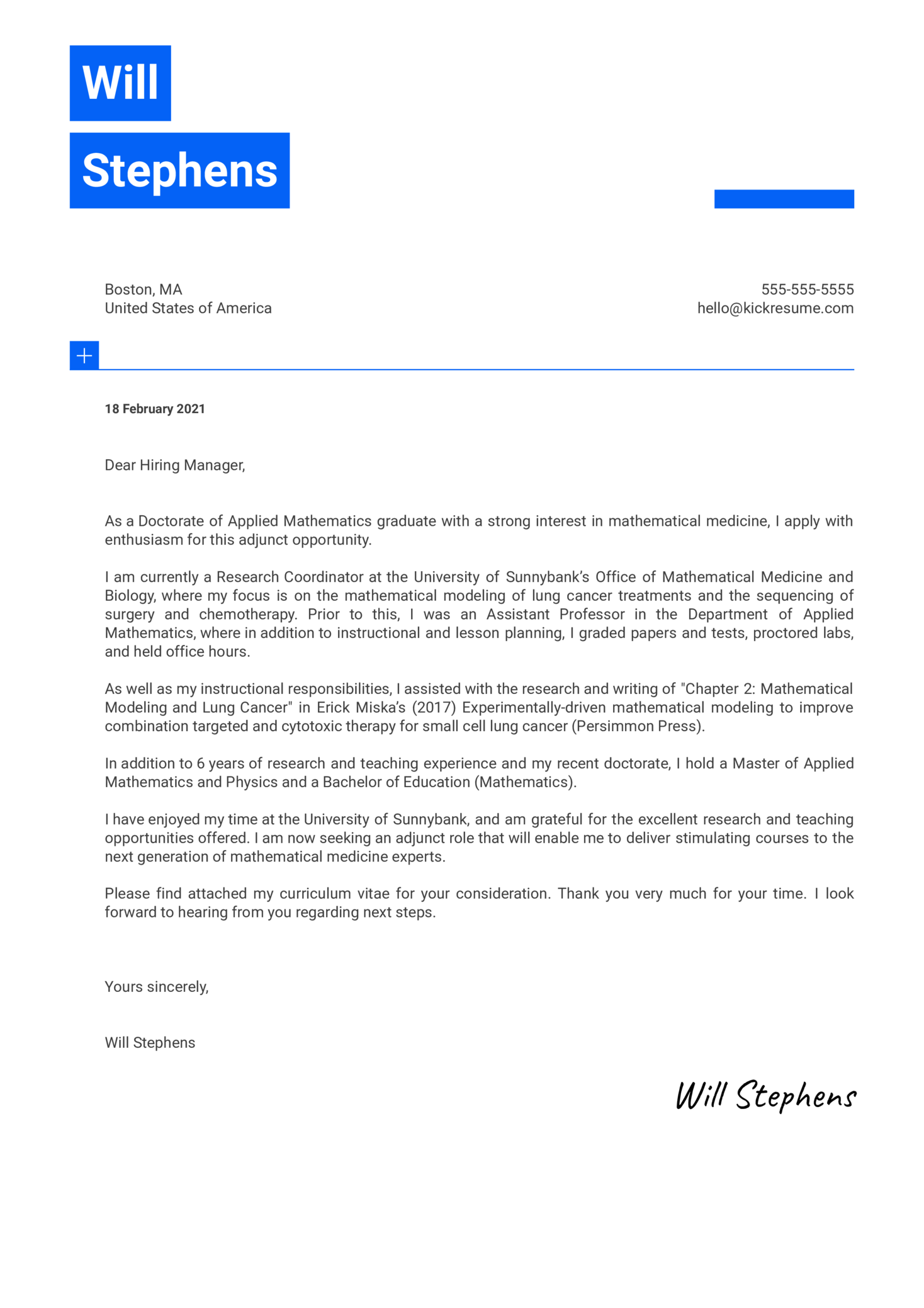 Adjunct Faculty Mathematics Cover Letter Sample