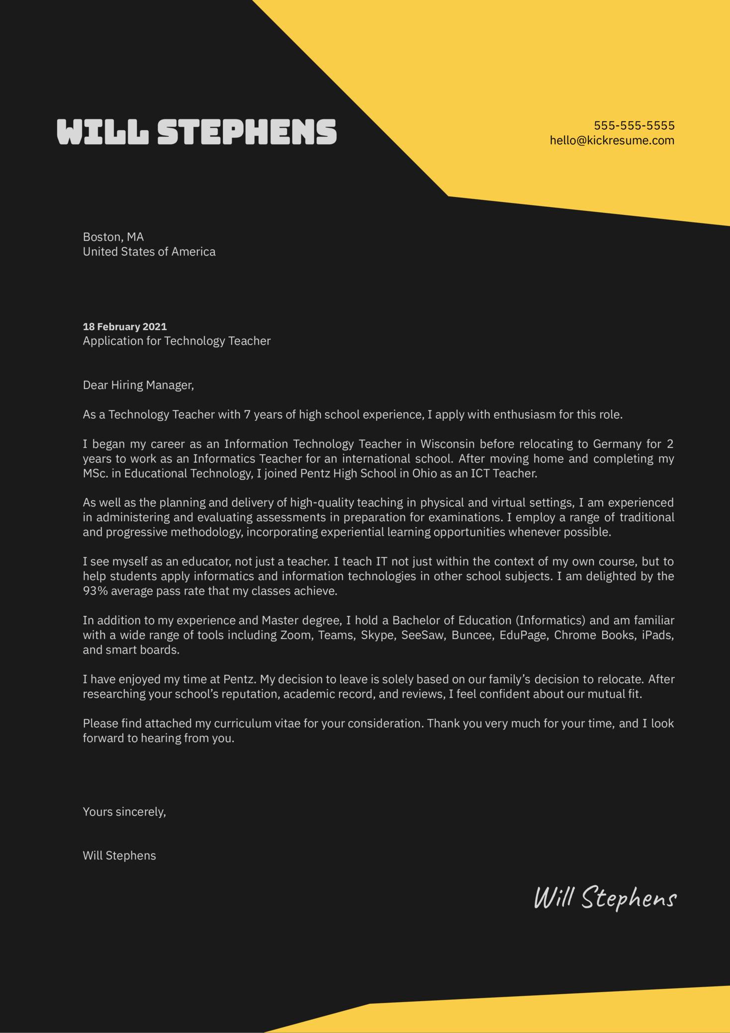 Technology Teacher Cover Letter Sample