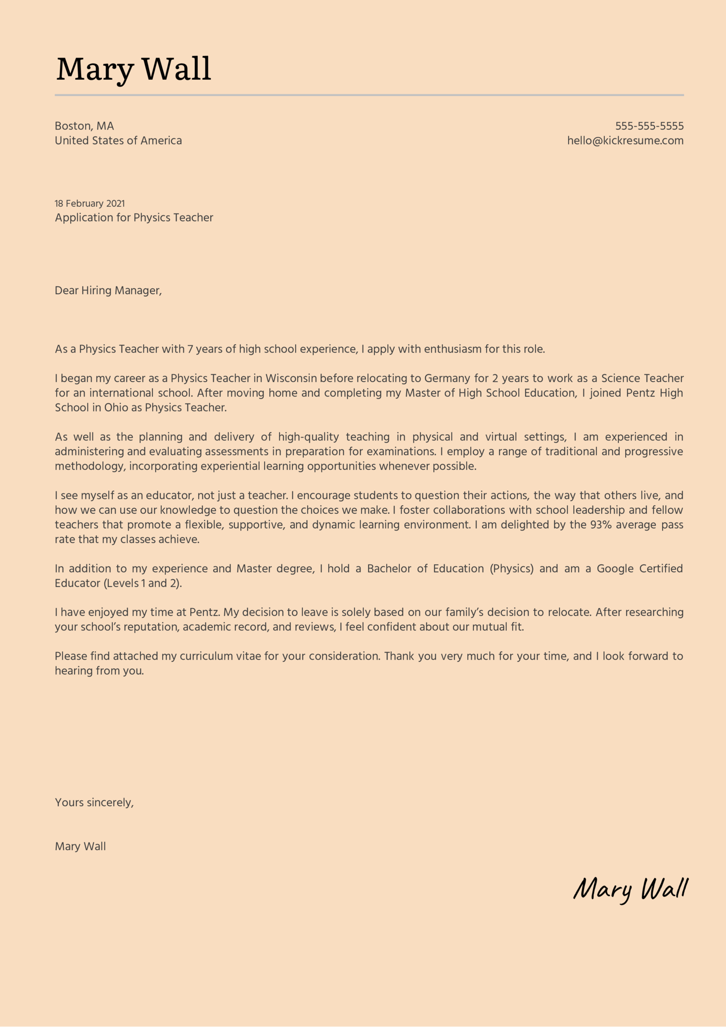Physics Teacher Cover Letter Example