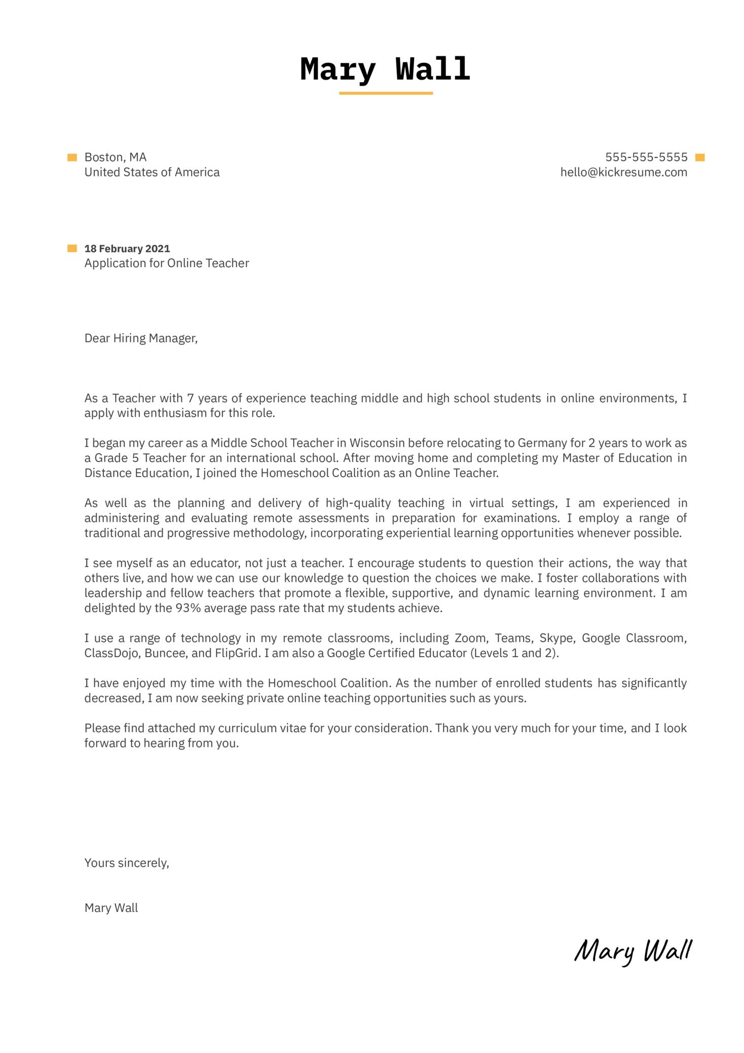 Online Teacher Cover Letter Sample