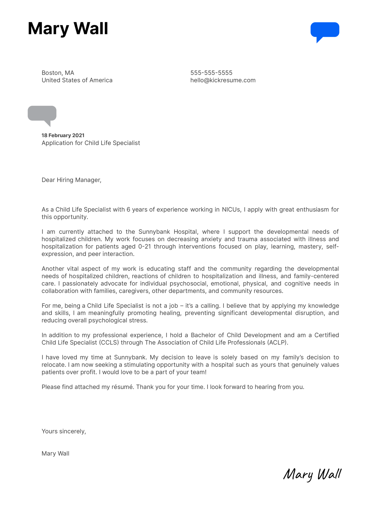 Child Life Specialist Cover Letter Example