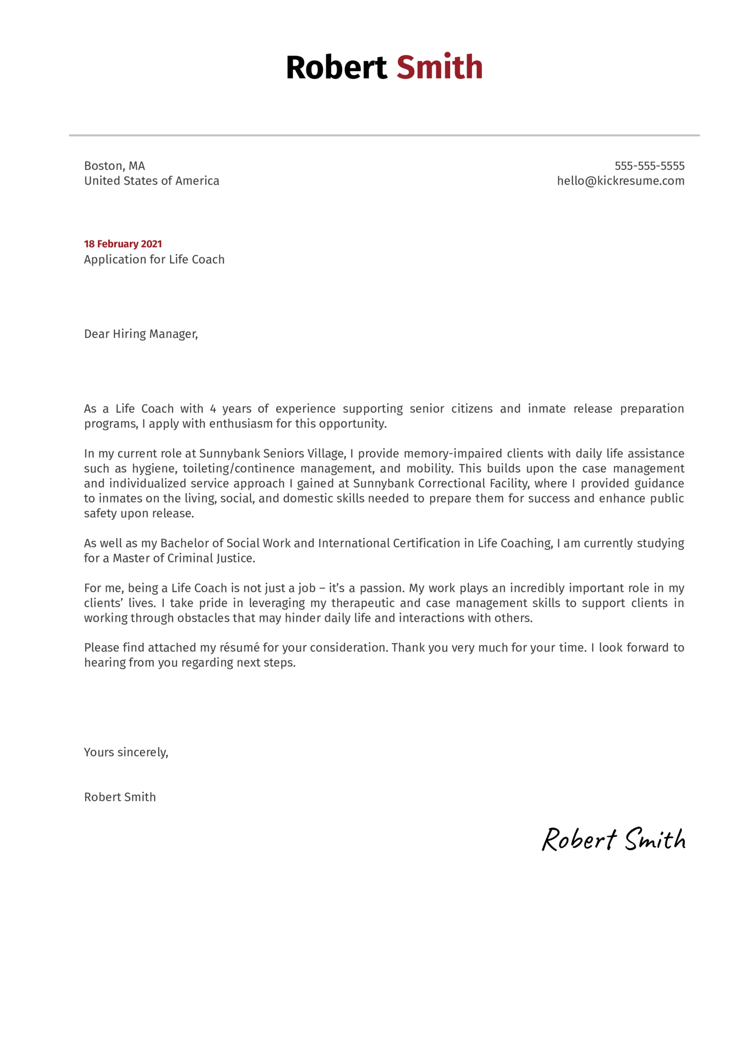 Life Coach Cover Letter Template