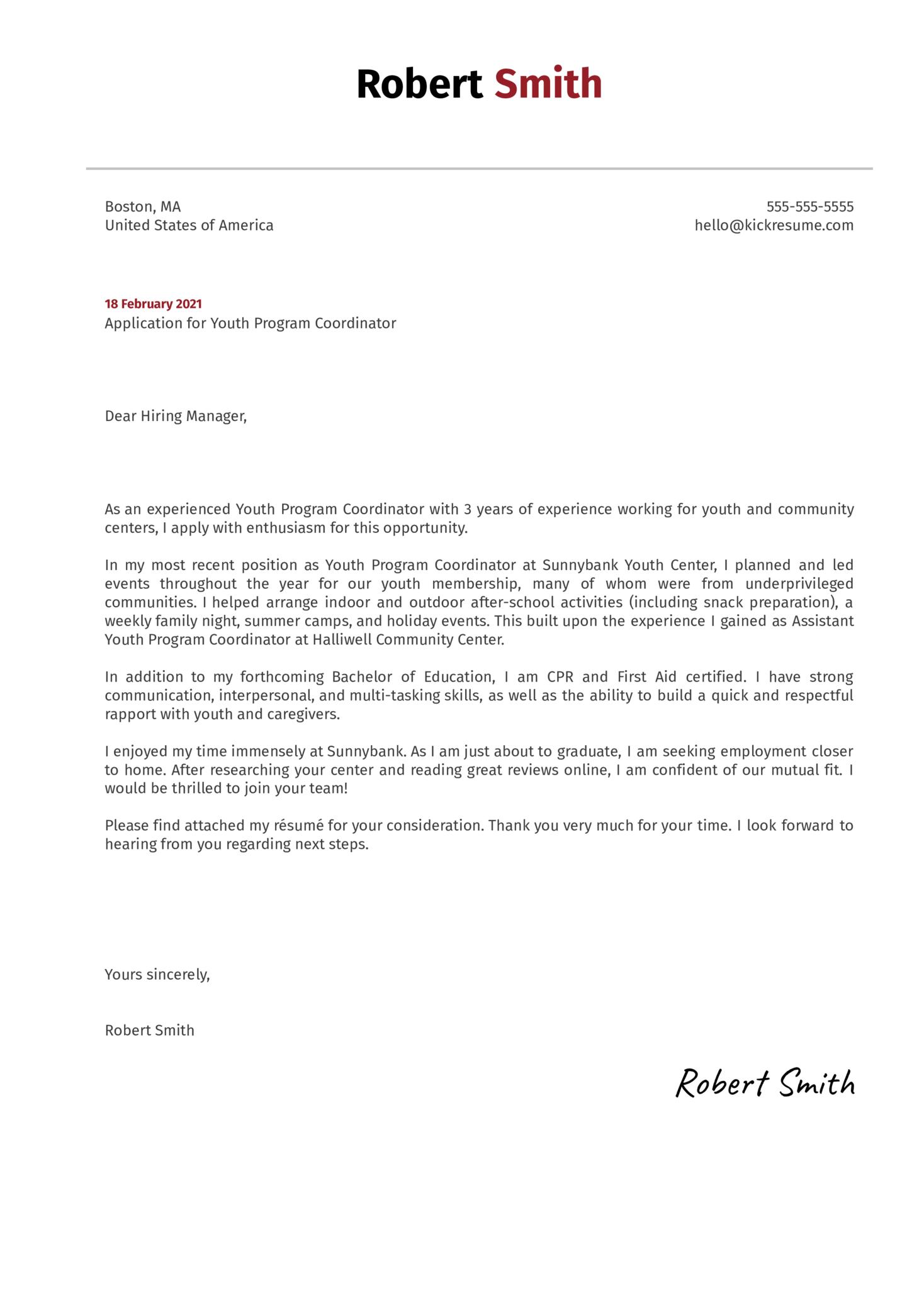 Youth Program Coordinator Cover Letter Sample