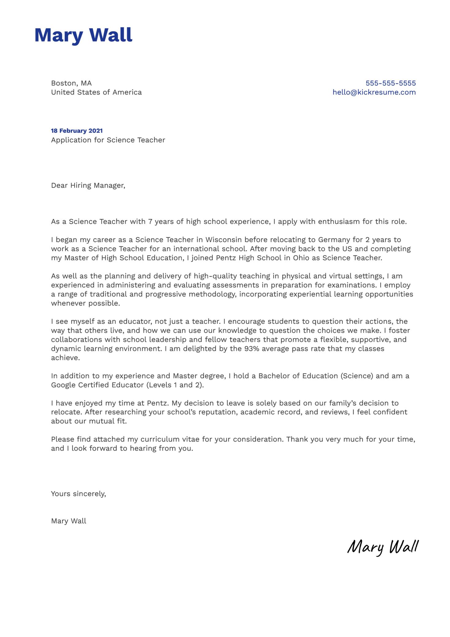 High School Science Teacher Cover Letter Template Kickresume