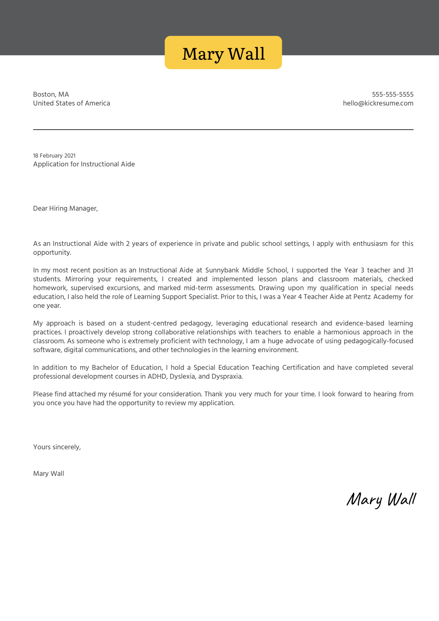 Instructional Aide Cover Letter Sample