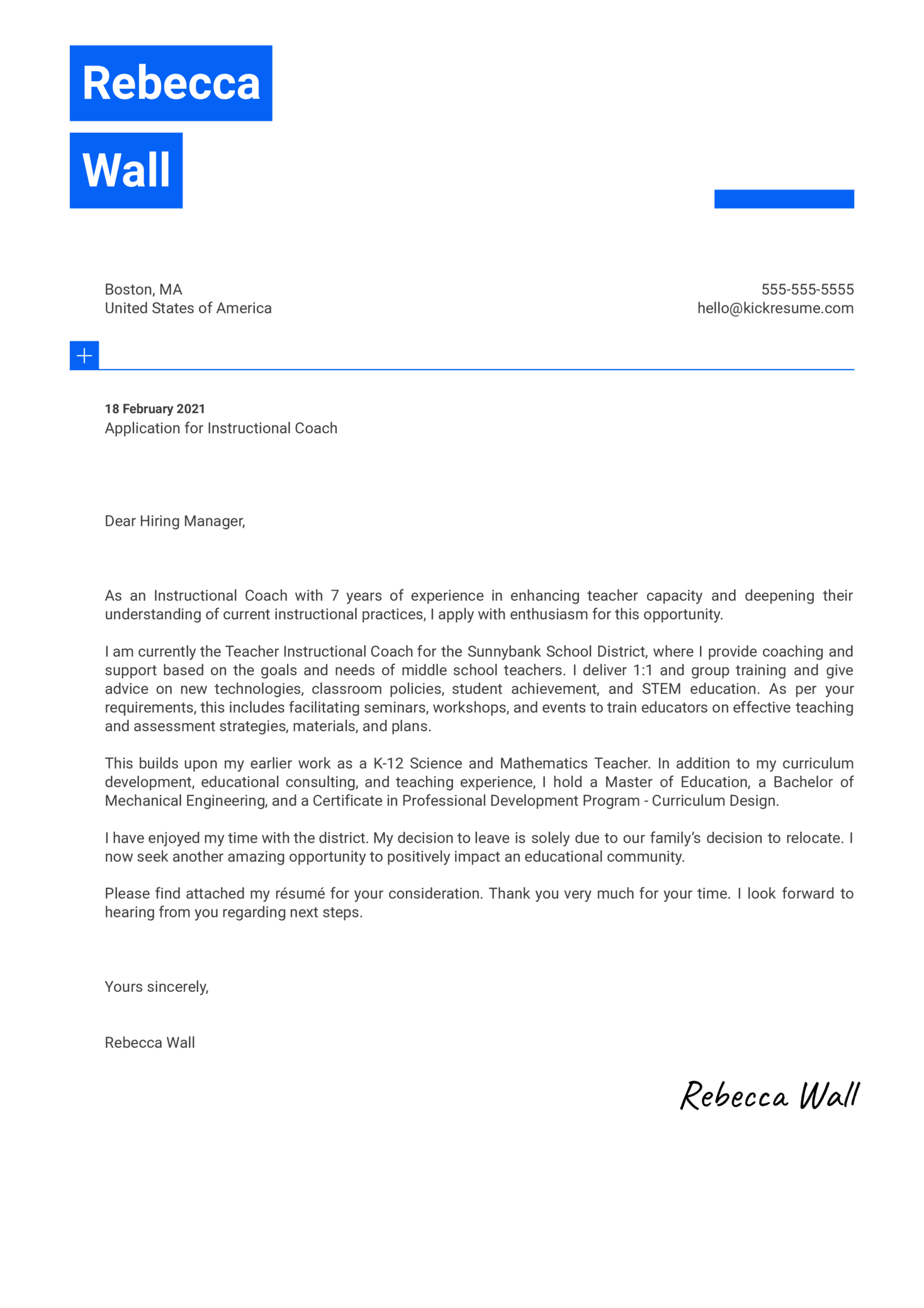 Instructional Coach Cover Letter Sample