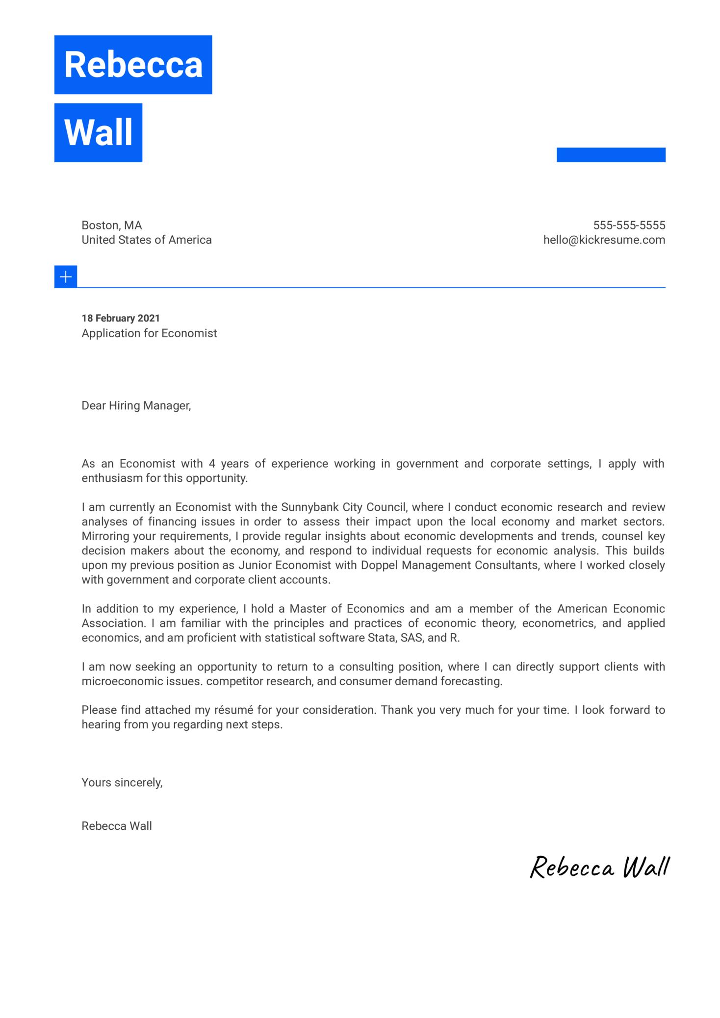 Economist Cover Letter Example
